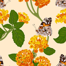 Bright Floral Seamless Pattern With Orange Lantana Flowers And Butterfly. Summer Tropical Pattern. Stock Vector Illustration.