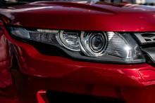 Beautiful Red Car Headlight   EKATERINBURG, RUSSIA - 28 AUGUST 2018.