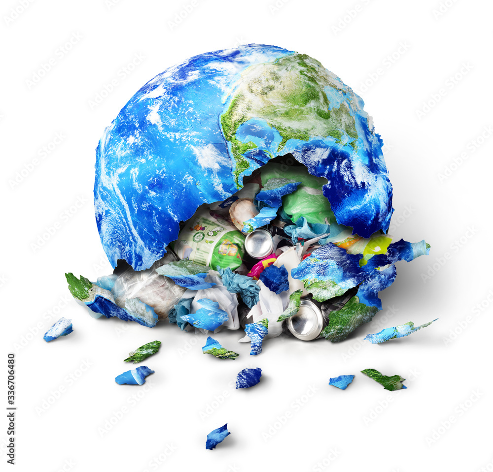 Fototapeta Global pollution concept. A planet broken to trash isolated on a white background