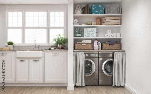 Valokuva Laundry room, 3d illustration