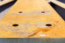 Close Up Of A Rusty Girder In Construction Site
