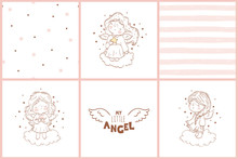 Doodle Cards With Angels And S...