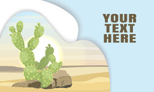 Landing Page Template With Layered Shadows And Image Desert With  Large Green Cacti Opuntia. Vector