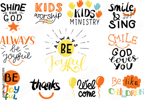 Logo set with Bible verse and christian quotes Kids worship, Smile, God loves yo Wallpaper Mural