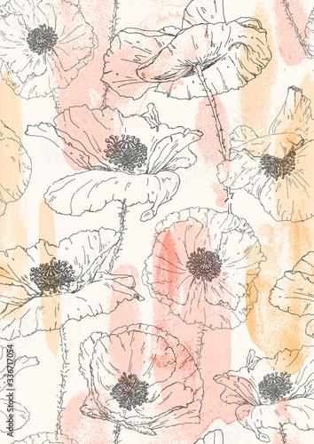 Obraz maki   boho-pastel-poppies-elegant-floral-seamless-pattern