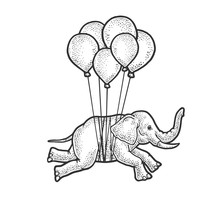 Elephant Flies On Balloons Ske...