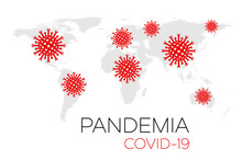 World Map With Red Covid-19 Ic...