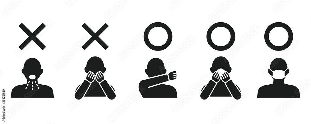 Icon set representing cough etiquette