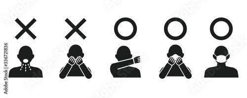 Fototapeta Icon set representing cough etiquette