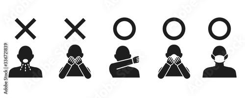 Foto Icon set representing cough etiquette