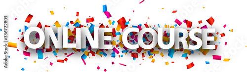 Big white online course sign over confetti background. Canvas Print
