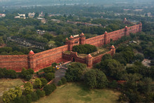 Red Fort Wall In New Delhi, India, Aerial Drone View