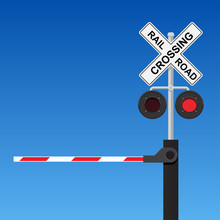 Railroad Crossing Vector Flat ...