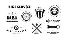 Set Of Bike Shop Badges And La...