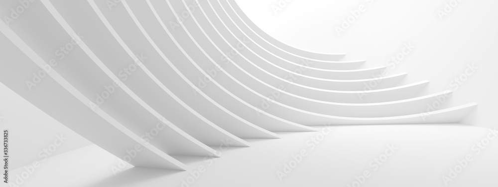 Fototapeta Abstract Technology Background. Minimal Architecture Design. White Industrial Wallpaper