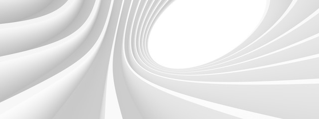 Abstract Architecture Background. White Circular Building. Geometric Graphic Design