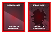 A Vector Illustration Of An Empty Red Emergency Box With An In Case Of Emergency Breakable Glass On The Front - Fixed And Broken