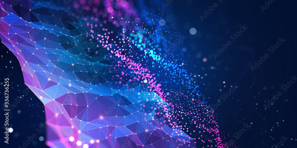 Fototapeta Abstract neural network. Big data concept. Global database and artificial intelligence. Bright, colorful 3D illustration with bokeh effect