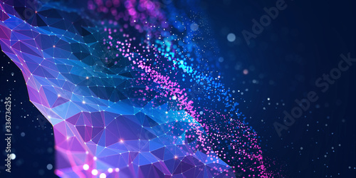 Obraz Abstract neural network. Big data concept. Global database and artificial intelligence. Bright, colorful 3D illustration with bokeh effect - fototapety do salonu