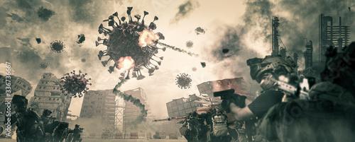 Leinwand Poster Corona virus war, Covid-19 and people's war