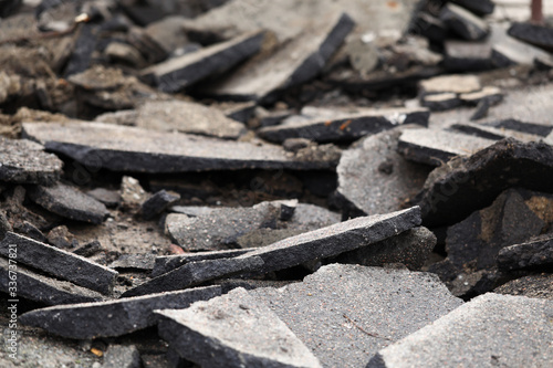 Terrible mess of road remains after some kind of catastrophe Canvas Print