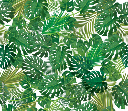 Cuadros en Lienzo Seamless tropical, exotic leaves pattern, isolated.