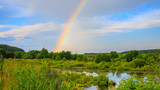 Fototapeta Tęcza - rainbow over the lake and forest