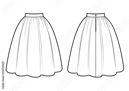 Retro skirt vector template isolated on a white background Fototapet