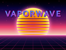 "Abstract Pastel Background With Laser Grid, Planet And Text On English And Japanese Translation ""Vaporwave"". Vaporwave/ Seapunk/ Synthpop Style."