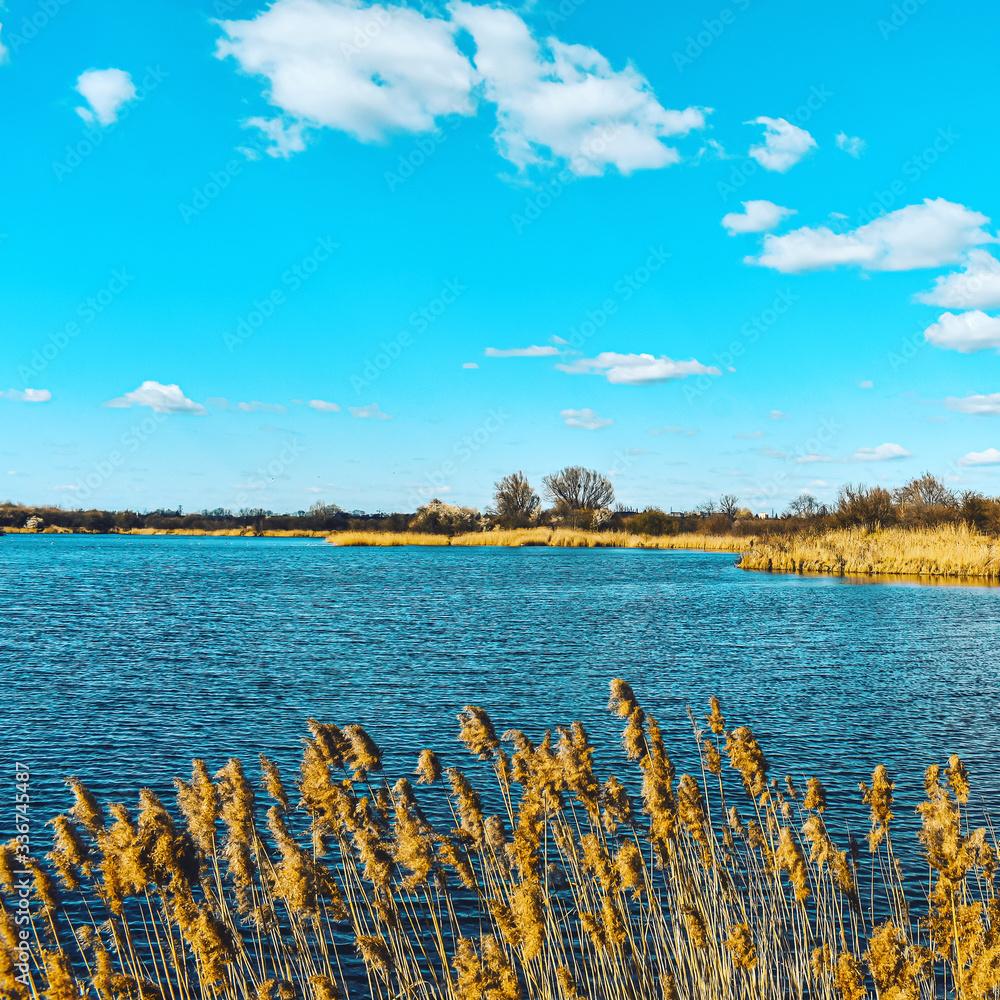 Fototapeta Krajobraz, jezioro i błękitne niebo