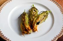 Stuffed Zucchini Flowers On Plate