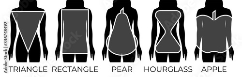 Foto Woman Body Shapes Triangle, Rectangle, Apple, Pear and Hourglass Black and White