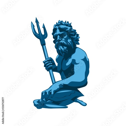 Valokuva virginia beach neptune statue vector illustration