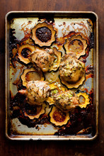 Roasted Chicken Thighs With Delicata Squash And Lemon