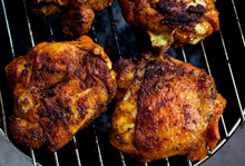 Overhead View Of Barbecued Chicken