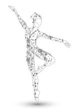 Filigrane Zeichnung Einer Ballerina Mit Ornamenten