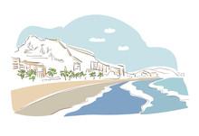 Alicante Spain Europe Vector Sketch City Illustration Line Art