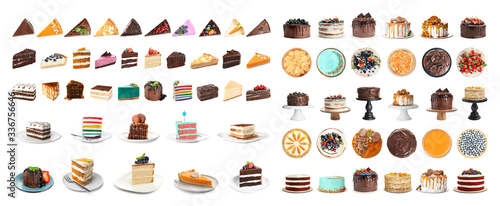 Fototapeta Set of different delicious cakes isolated on white. Banner design