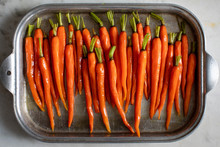 Overhead View Of Carrots In Ba...