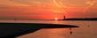 Sonnenaufgang an der Kieler Förde mit Blick auf Laboe, Falckensteiner Strand, Panorama