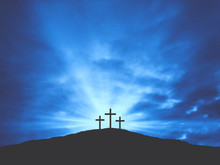 Three Christian Easter Crosses On Hill Of Calvary With Blue Clouds In Sky - Crucifixion Of Jesus Christ