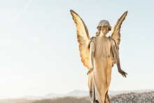 Statue Of Angel With Wings Aga...