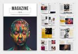 Magazine Layout with Orange Accents - 336781408