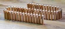 Lined Wooden Dominoes, On Wood...