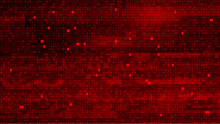 Abstract Red Background With Binary Code. Malware, Or Hack Attack