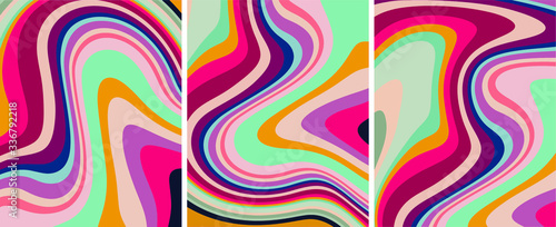 Retro colorful psychedelic abstract art template set, vector Canvas Print