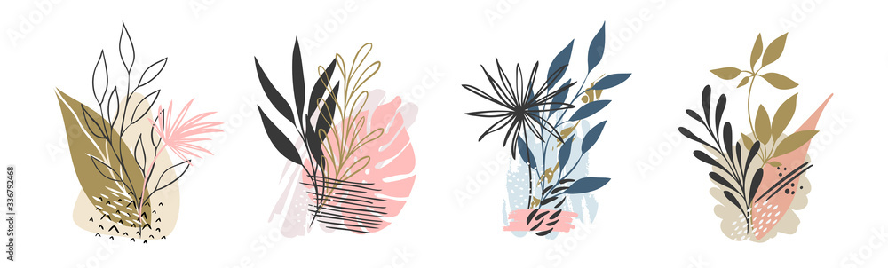 Fototapeta Set abstract floral background isolated on white. Vector