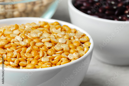 Beans assortment on white stone table Canvas Print