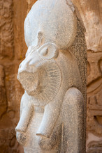 Close Up Portrait Of An Egyptian Sekhmet Lioness Warrior Goddess, Also A Deity Of Healing And Fertility, At Medinet Habu, West Bank, Luxor, Egypt