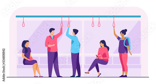 Obraz Passengers in metro wagon flat vector illustration. People travelling by underground. Man and woman sitting, standing, reading, talking during trip. Public transport and city's subway train concept - fototapety do salonu